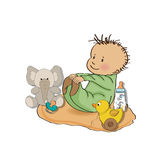 Little baby boy play with his toy. Baby shower card royalty free illustration
