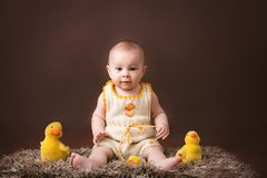 Little baby boy, playing with decorative ducks, on brow. N background, easter fun royalty free stock images