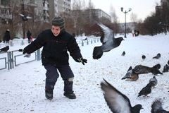 Little baby boy rides in the Park of birds pigeons in winter laughs fun emotions royalty free stock photo