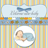 Little baby boy sleep with his teddy royalty free illustration