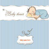 Little baby boy sleep with his teddy bear Stock Images