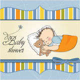 Little baby boy sleep with his teddy bear toy. Baby shower card Royalty Free Stock Image