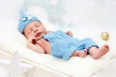 Little baby boy sleeping. Christmast theme, studio portrait Royalty Free Stock Photos
