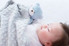 Little baby boy sleeping. In his house Stock Photo