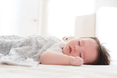 Little baby boy sleeping. In his house Stock Images