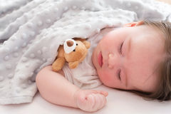 Little baby boy sleeping. In his house Stock Photography