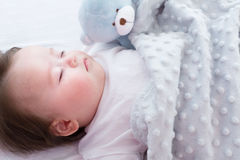 Little baby boy sleeping. In his house Royalty Free Stock Images