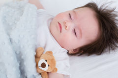 Little baby boy sleeping. In his house Royalty Free Stock Photos