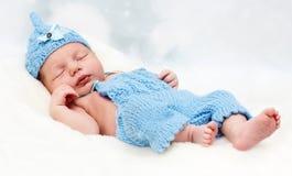 Little baby boy sleeping. Studio portrait of beautiful newborn baby Royalty Free Stock Photography