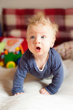 Little baby boy with spiky hair crawling on bed. Royalty Free Stock Photography