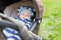 Little baby boy in stroller Royalty Free Stock Images