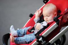Little baby boy in stroller Stock Photography