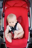 Little baby boy in stroller Royalty Free Stock Photos