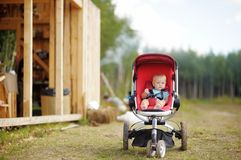 Little baby boy in stroller Royalty Free Stock Image