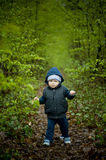Little baby boy walking on the forest pathway. Royalty Free Stock Image