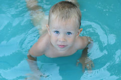 Little baby boy in the water pool Royalty Free Stock Photography