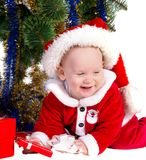 Little baby boy wearing Santa's costume Royalty Free Stock Image