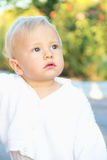 Little Baby Boy in White Portrait Royalty Free Stock Images
