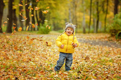 Little baby boy in a yellow jacket and smiling in autumn leaf.  Royalty Free Stock Photography