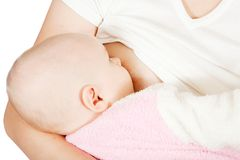 Little baby breast feeding Stock Photos