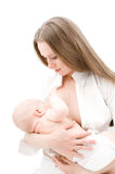 Little baby breast feeding. stock image