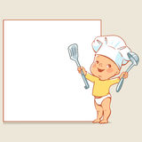 Little baby chef at banner. Cute little baby in diaper and chef`s hat. Happy boy as cook holding spoon pointing at blank text frame. Vector baby design template Royalty Free Stock Image