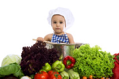 Little baby chef in pot Stock Photos