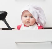 Little baby in a chef's hat Royalty Free Stock Photos