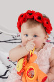 Little baby chews soft toy Stock Photo