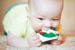 Infant Baby Child Boy Six Months Old. Little Baby Child Boy Six Months Old stock images