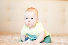 Infant Baby Child Boy Six Months Old. Little Baby Child Boy Six Months Old royalty free stock image
