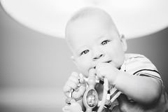 Infant Baby Child Boy Six Months Old. Little Baby Child Boy Six Months Old royalty free stock images