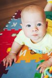 Infant Baby Child Boy Six Months Old is Playing on a Floor Stock Photos