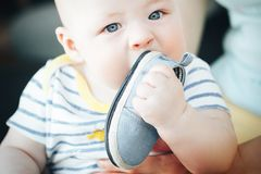 Infant Baby Child Boy Six Months Old is Takes his Shoe in the Mouth. Little Baby Child Boy Six Months Old is Takes his Shoe in the Mouth royalty free stock photo