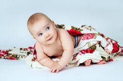 Little baby covered with a blanket on bright gray background Royalty Free Stock Photo