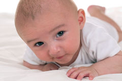 Little baby crawling in bed Royalty Free Stock Photography