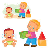 Little baby crying while an older brother wants to comfort him and gives his cube. Royalty Free Stock Photos