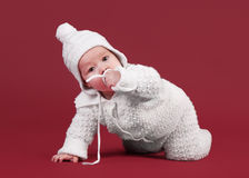 Little baby on dark red Stock Image