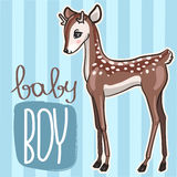 Little baby deer vector illustration. Cute blue card with little fawn boy Royalty Free Stock Photo