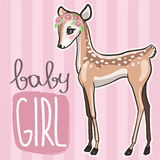 Little baby deer vector illustration. Cute pink card with little fawn girl Royalty Free Stock Photos