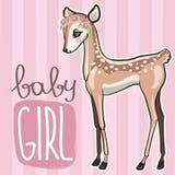 Little baby deer vector illustration. Cute pink card with little fawn girl vector illustration