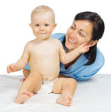 Little baby with doctor isolated Stock Image