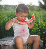 Little baby eating watermelon outdoors stock images