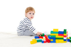 Little baby with educational toys. Royalty Free Stock Image