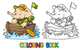 Little baby elephant floating by boat. Scout. Scout. Funny baby elephant with backpack floating on a boat. Children vector illustration. Coloring book Stock Photography