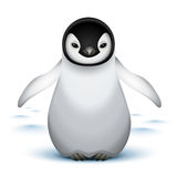 Little baby emperor penguin. On the snow vector illustration