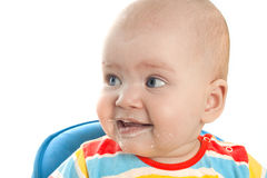Little baby is feeding curds Royalty Free Stock Photos