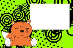 Little baby fox expressions cartoon background Stock Image