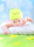 Little baby in frog costume Royalty Free Stock Photography