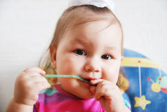 Little baby girl. Baby girl looking at camera Royalty Free Stock Image